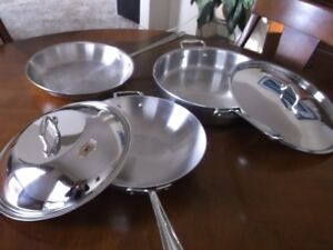 5 piece  All-Clad Polished Stainless Steel  Pans