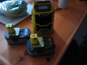 Ryobi radio and batteries
