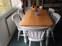 Farmhouse dining table with six chairs