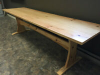 Handcrafted 9' Pine Harvest Table