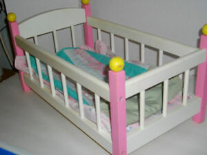 Baby doll crib - Solid wood - fits American Girl bitty Baby