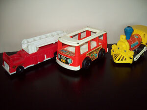 Vintage Fisher Price Bus, Train & Firetruck