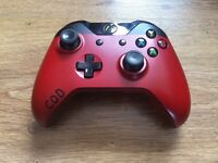 COD CUSTOM RED PAINT XBOX ONE OFFICIAL CONTROLLER PAD.