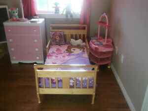 Wood Toddler Sleigh Bed, With Two Side RailsFor  Boys or Girls