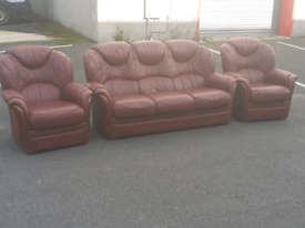 Oxblood Leather 3 Seater Sofa and 2 Chairs