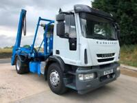 2010 60 Iveco Eurocargo 180E25 Multilift extending arm skip loader sheet system