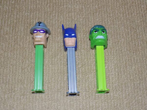 3 COMIC BOOK PEZ, BATMAN, RIDDLER, AND THE HULK