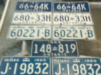 Nine old Licence Plates for sale 1965 and up to 1971...