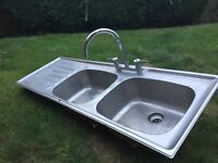 Double basin sink - stainless steel with taps