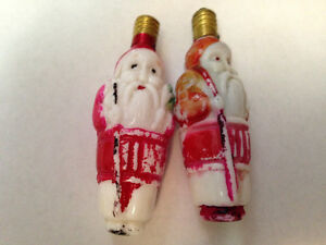 Two Vintage Santa Figure Shape Christmas Bulbs