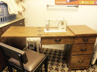 Elna sewing machine with cabinet and chair