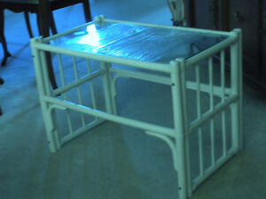 VINTAGE  SHABBY CHIC WHITE WOODEN TUBULAR  COFFEE TABLE  ''''RE