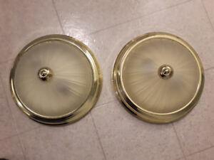 2  - 11.5 inch Ceiling Lights with brass trim