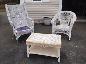Wicker Chair, Rocker and Table