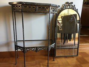 Antique Brass & Marble Hallway Table and Matching Arched Mirror Kingston Kingston Area image 2