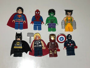 NEW!! All 8 Marvel Lego Men - Batman, Superman, Spider-Man, Thor