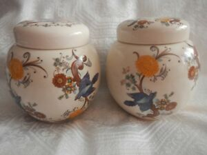 Two Vintage Hand Painted Sadler England Bowls with Lids NEW