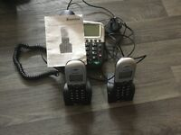 Binatone cordless phones x2 with base phone with instructions