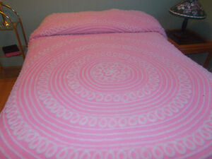 Pink and while chenille bedspread