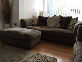 2 x DFS Large 3-Seater Sofas + Pouffé