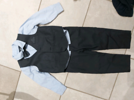 18 to 24 month 3 piece pinstripe navy waistcoat outfit