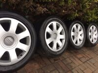 """Genuine Audi A4 Convertible 16"""" Alloy Wheels & 215 55 16 Tyres, A3, VW"""