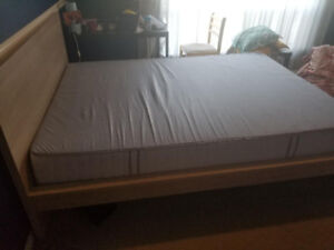 90% new Ikea mattresses, bed frame queen, cheap for sale, queen