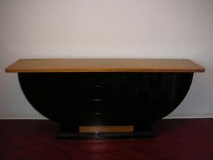 Beautiful Black Lacquer Boat Shaped Sideboard