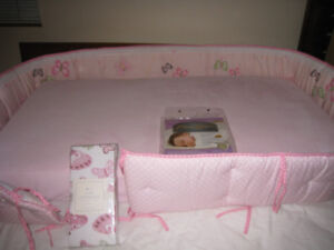 BABY CRIB SEALY MATTRESS/COVER/POTTERY BARN BUMPER/SHEETS/TOY