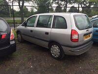 04 plate vauxhall zafira 1.6 petrol silver 7 seats mot 31/07/17