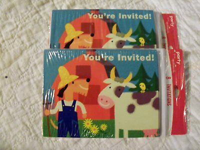 16 Farm Barn Birthday Party Invitation Cow FArmer ()