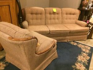 Retro vintage wood neutral couch and chair set. SALE  London Ontario image 1