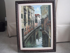 "Framed Canvas Painting Venice Italy  33""L x 25""W"