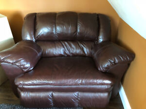 Leather Ashley Furniture Reclining  Chair and a  Half