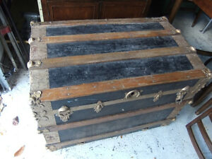 large wood and metal vintage steamer trunk