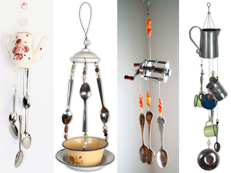 Junk chimes and bird feeder