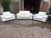 3x white leather sofas, Free delivery