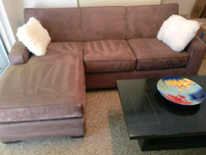 Chocolate brown ultra-suede sofa - condo size