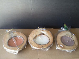 COCONUT SHELL CANDLES - SET OF 3