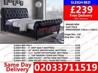 PREMIUM QUALITY CRUSHED VELVET BRAND NEW DOUBLE SLEIGH DESIGNER BED FRAME AVALIBLE WITH MATTRESS