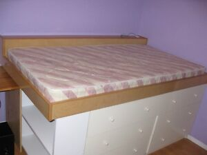 TWIN RAISED BED & MATTRESS - CUSTOM MADE - CHECK IT OUT