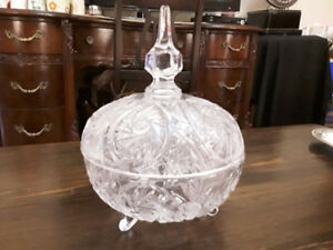 CUT CRYSTAL CANDY BOWL WITH LID, PINWHEEL PATTERN