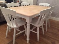 Gorgeous 5ft Shabby Chic Farmhouse Oak Table and 6 Lovely Chairs