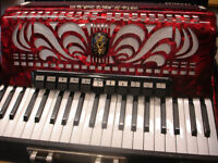 ACCORDEON ROUGE AVEC VALISE WELTMEISTER CAPRICE 120 GERMANY