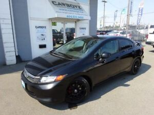 2012 Honda Civic LX Sedan, 5 Speed, Blacked Out, Spoiler