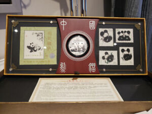 Collectable China Panda Silver Coin and Stamps Display Set