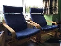 2 Ikea Poang Blue Chairs