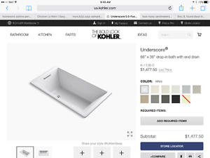"Bathtub: Kholer ""Underscore"" K1136 drop in or undermount + drain"