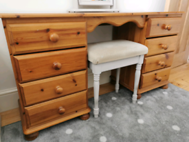 *£100 ONO* Solid pine 8 drawer dressing table with mirror and stool