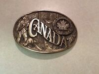 """FIRST EDITION SOLID BRASS BELT BUCKLE """"CANADA"""""""